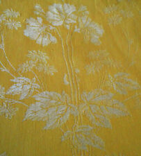 Antique French Art Nouveau Deco Floral Cotton Ticking Damask Fabric ~ Yellow