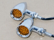 Amber LED Chrome Billet Stop Brake Running Turn Signal Tail Light For Motorcycle