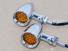 Amber LED Chrome Billet Stop Brake Running Turn Signal Tail Light For Motorcycle