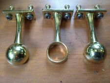 3 x 19 m Brass effect WARDROBE BRACKETS Hanging Clothes Rail Wide Pole Support