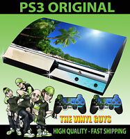 PLAYSTATION PS3 OLD SHAPE TROPICAL BEACH PARADISE STICKER SKIN & 2 PAD SKINS