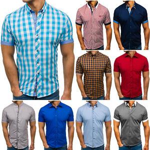 Freizeithemd Kurzarmhemd Herrenhemd Shirt Slim Fit Herren Mix BOLF 2B2 Casual
