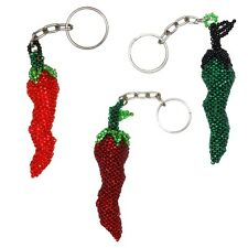 Key Chain Hand Made Unique Pepper Chili Guatemala Fair Trade Beaded Artisan Made