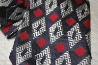 Vintage Silk Neck Tie Navy Diamond 100% Pure Silk Made in Italy Sterling & Hunt