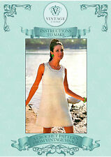 Vintage 1960s crochet pattern-how to make fab mod shift mini dress-4 ply yarn