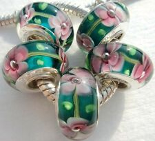 5PCS Silver Single Core Murano Lamp Glass Beads fit European Charm Bracelet A067