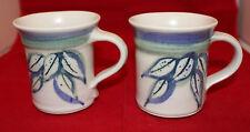 Signed Studio Pottery Off White Leaves Three Tone Color 2 Coffee Tea Mug Cup Set