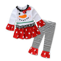 2PCS Toddler Baby Girl Christmas Cartoon Long Sleeve Top Stripe Pants Outfit Set