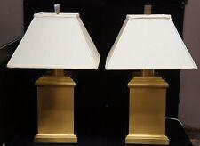 "2 Wildwood Square Canister Lamps Hand Formed Brass Base 29"" Light Rare Designer"