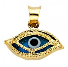 Real 14k Gold Evil Eye Pendant Good Luck Charm All Seeing Eye Enamel Necklace