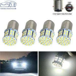 4x 6000K White 1157 BAY15D 50-SMD LED Tail Stop Brake Light Bulbs 7528 12V USA