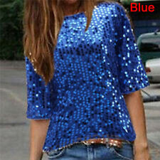 Fashion Women Loose Off Shoulder Sequin Glitter Blouses Casual Shirts  Tops M&C