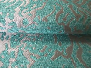 BARGAIN ROLL END 4.45 METRES ANIMAL THEME WEAVE UPHOLSTERY FABRIC TEAL & GOLD