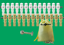 """13 White/13 Tan Robotic Style Foosball Men for a 5/8"""" Rod + 26 Screws/Nuts"""