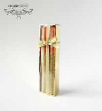CTD 8 Inch Orange & Sparkle Gold Taper Candle Set, Lot of 12, Wholesale