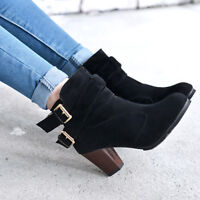 Women Suede Boots Short Booties Shoes Winter Ankle Block Heel LHM15