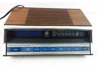 Vintage General Electric Alarm Clock AM FM Radio Model No. 7-4662B Woodgrain