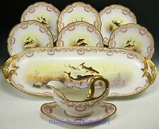 LIMOGES HAND PAINTED FISH SERVICE PINK ROSES SWAG GOLD ARTIST SIGNED - 9 PIECES