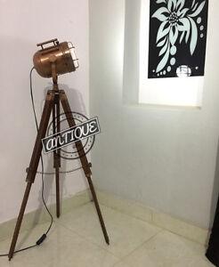 Vintage Torchiere de madera Lámparas DE pie Soporte LED trípode decoración