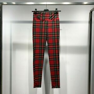 Pantalone donna pants leggings leggins fusò scozzese quadri vita alta moda 44202