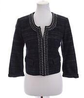 NWT Ann Taylor Loft Womens Studded Cropped Blazer Jacket Blue Sz 6