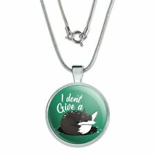 """1"""" Pendant with Sterling Silver Plated Chain Black Fox I Don't Give A Pun"""