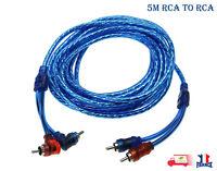 5m câble Audio 2RCA mâle à 2RCA Mâle Stéréo cordon en cuivre