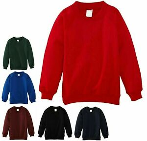 Mens Boys Plain Fleece Sweatshirt School Uniform Pull Over Crew Neck Jumper Top
