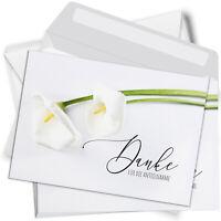 15 Trauer-Danksagung Set Karten Umschlag Dankeskarten Beerdigung Calla weiss