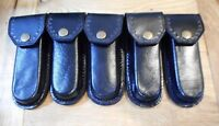 """Lot of 5 Black leather knife sheaths 5"""" - cases - second quality"""