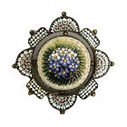 Micro Mosaic Millefiori Glass Brooch Italy Antique Floral Victorian Grand Tour