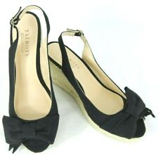 Talbots Womens Espadrilles 8 M Black Sookie1 Sling Back Peep Toe Wedge NWOB