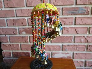 Ethnic Colorful Beaded Elephant/Bell Hanging Chime Mobile