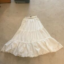 New listing Vintage White Tiered Skirt/Slip with Floral Detail