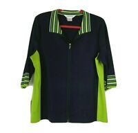 Exclusively Misook Cardigan Women Size Large Full Zip Black Green 3/4 Sleeve Top