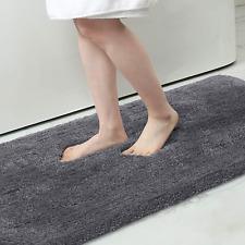 New ListingBuganda Microfiber Bathroom Rugs (17x24, Grey) Shaggy Soft and Absorbent, Non Sl