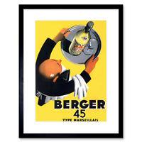 Advertisement Wine Berger 45 Food Kitchen Waiter Framed Wall Art Print