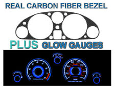 Carbon Fiber Bezel + Blue Glow Gauge Face Overlay for 90-97 Mazda Miata Mx-5 Mx5