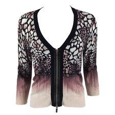 KAREN MILLEN Black Pink Beige Leopard Print Ombre Zip Up Fitted Cardigan 4 14