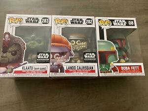 Star Wars Funko Pop  Lot Lando Calrissian 282 Klaatu 283 & Boba Fett 08