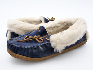 LL Bean Mens 8M Blue Sheepskin Slip On Round Toe Flat Comfort Moccasin Slippers