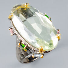 Handmade24ct+ Natural Green Amethyst 925 Sterling Silver Ring Size 9/R120342