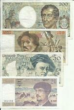 FRANCE LOT 200-100-50-20 FRANCS P 155-154-152-151. VF CONDITION. 4RW 30MAI