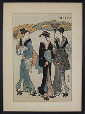 "TORII KIYONAGA JAPANESE WOODBLOCK PRINT ""BEAUTIES IN THE RAIN"""