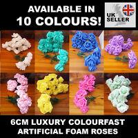 6cm Luxury Colourfast Artificial Foam Roses - Bridal Wedding Flowers Bouquet