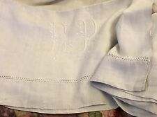 Drap Ancien En Lin Linge Blanc De Maison Lit Brodé Monogramme E P