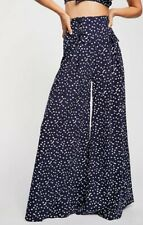 NEW Free People ONE Bette Pants Size 2 Navy Polka Dot Super Flare Wide Leg