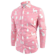 Men Long Sleeve Snowflakes Christmas Reindeer Xmas Party T Shirt Buttons Tops UK