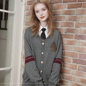 Harry Potter Knit Cardigan Hogwarts logo Sweatshirt jacket autumn oversize coat