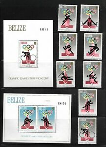 Belize - Olympics - Stamps + Souvenir Sheet - Mint NH - Scott# 451-458, 459, 460